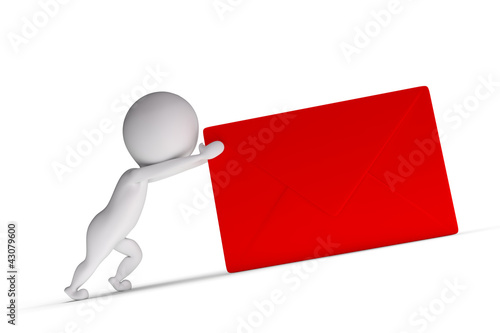 3d human pushes a red letter