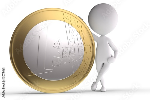 3d human with big coin