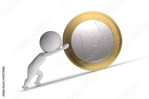 3d human pushes a big coin