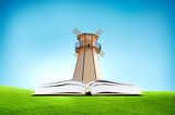 3D open book with wind mill