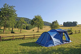 Blue tent campsites planted amidst the mountain meadow Green poster