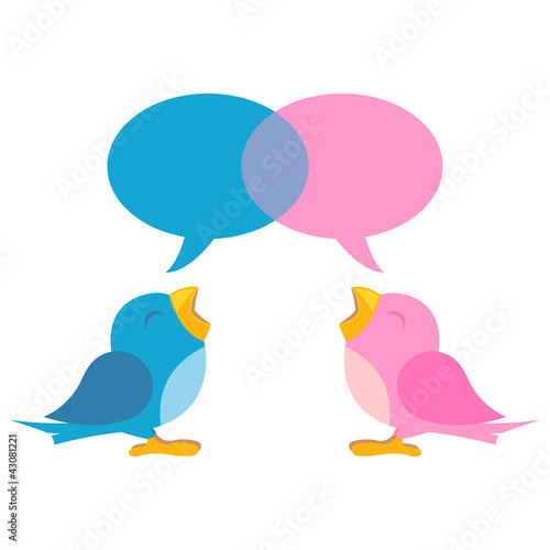 Blue and pink birds with talking balloons over white
