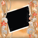 Photo frame with seashells in style scrapbooking