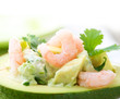 Avocado and Shrimps Salad. Close-up image