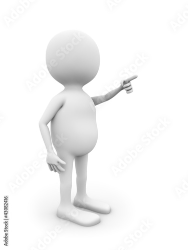 3D white man pointing on something isolated on white background.