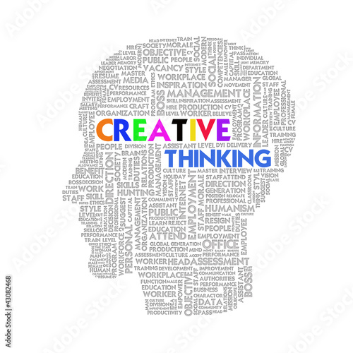Word cloud business concept inside head shape, idea and creative