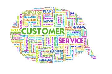 Business word inside speech bubble, customer service