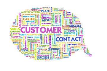 Business word inside speech bubble, customer focus