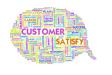 Business word inside speech bubble, customer focus