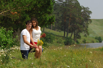 Love story. Wheatfield, Pine, Strawberry in hand