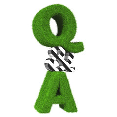 3d question and answer grass sign