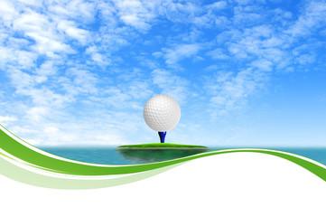 Golf ball on Tropical green island