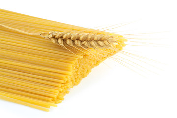 spaghetti and wheat isolated on white background