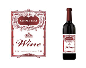 bottle, the wine label. Vector realistic illustration