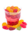 Tasty colorful jelly with candies