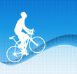 bicyclist on the abstract blue background - vector