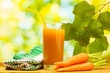 glass of carrot juice and fresh carrots