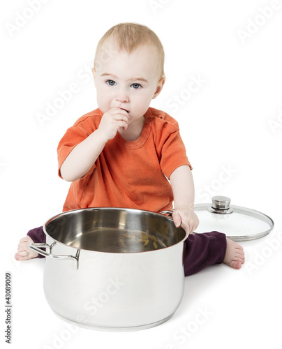 baby with big cooking pot