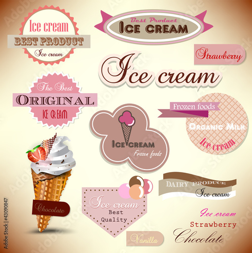 Set of vintage ice cream shop badges and labels