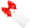 Card note with red gift bows with ribbons. Vector