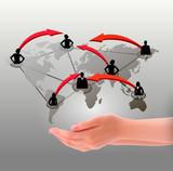 Hands holding social network. Vector illustration
