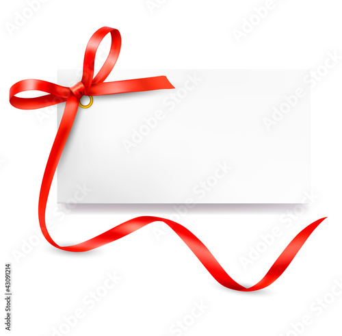 Card with red gift bow with ribbons. Vector