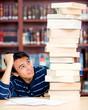 Overwhelmed male student