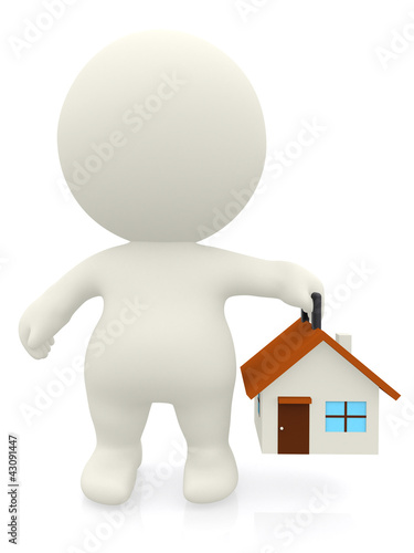 3D man carrying a house