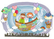 Children in flying balloon