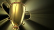 Golden glowing trophy cup on black background