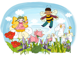 Children flying in garden