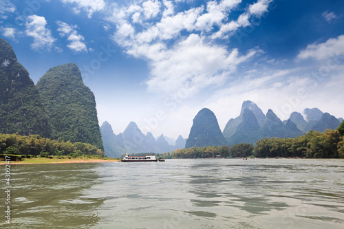 beautiful scenery of karst mountain in lijiang river