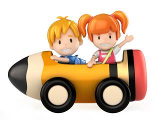 3d render of kids riding a pencil cart