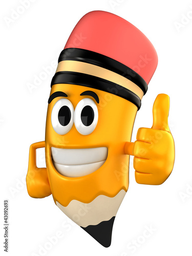 3d render of pencil giving thumbs up