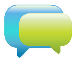 Blue and green colour speech bubbles