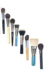 Row of different make up brushes