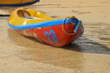 Kayaks on the tropical beach,