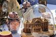 Brocante maquette globe poteries pendule