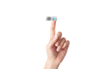 man finger pressing a touchscreen on play button