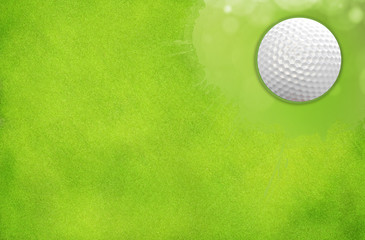 Golf Ball on the green grass for web design background