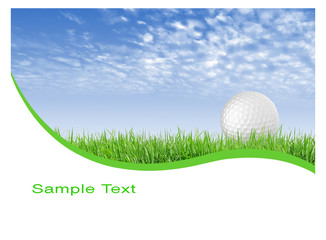 Close-up of golf ball with green grass and blue sky for web desi