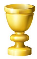 Golden cup grail or goblet
