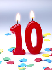 Birthday-anniversary candles showing Nr. 10