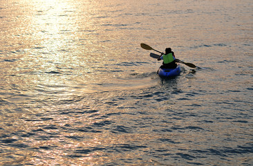 Kayaking on Sunset