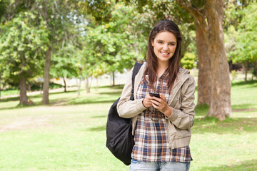 First-year student using a smartphone