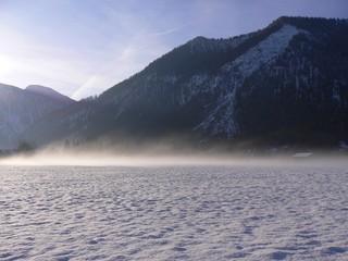 Morgennebel im Winter in Bayrisch Zell