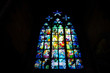 stained-glass window in the St. Vitus cathedral. praha