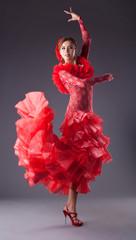 woman flamenco dancer in red costume