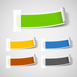 Colorful paper roll label set, vector illustration