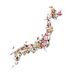 map of japan with a lot of people portraits
